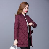 棉衣女中长款2017冬装新款韩版修身薄款中年菱格轻薄棉袄外套