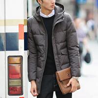 新款冬季男装外套羽绒服男士中长款修身青年加厚商务韩版潮流 灰色 M