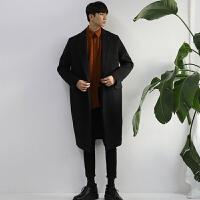 冬季呢大衣男中长款青年毛呢外套韩版宽松风衣韩国妮子大衣加厚潮