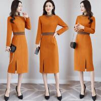 毛呢连衣裙女中长款秋冬装新款女装韩版高腰长袖修身打底裙子