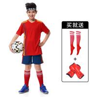儿童男女足球服套装夏 中小学生比赛足球衣训练队服定制