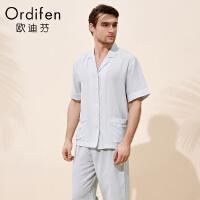 【超品价:979】欧迪芬男士睡衣商场同款家居套装休闲起居服短袖睡衣两件套HH8101