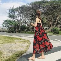 裙子夏女2018新款 V领中长款碎花裙吊带裙波西米亚度假雪纺连衣裙 红色 均码