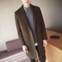 秋冬季韩版修身毛男士中长款风衣潮男装外套