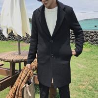 秋冬季新款风衣男潮流中长款宽松呢子外套韩版休闲青年羊毛呢大衣