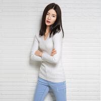 15年春秋冬装新款女纯色V领套头修身羊绒衫短款打底衫毛衣韩版