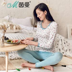 INMAN/茵曼蕾丝莫代尔印花睡衣保暖套装家居服套装女 9873486382
