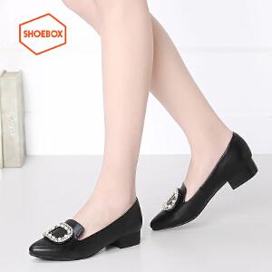 shoebox鞋柜新品甜美休闲女鞋 方扣优雅尖头套脚低跟浅口单鞋