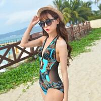 新款时尚泳衣女小胸聚拢性感露背三角 连体比基尼泳衣度假游泳衣
