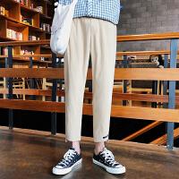 夏季新款纯色哈伦裤韩版舒适薄款小脚裤子日系文艺青年九分休闲裤