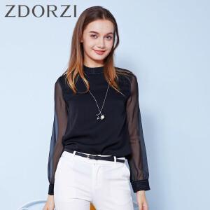 zdorzi卓多姿显瘦纯色半高领雪纺拼接长袖衬衫832521