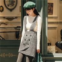 英伦格子背带裙女秋装女2019新款韩版复古高腰双排扣半身裙短裙子