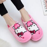 HELLO KITTY凯蒂猫棉拖鞋女冬季卡通可爱居家保暖毛拖鞋防滑厚底 粉红