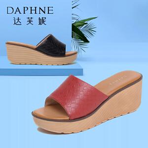 Daphne/达芙妮夏季 时尚编织纹坡跟鞋女拖鞋