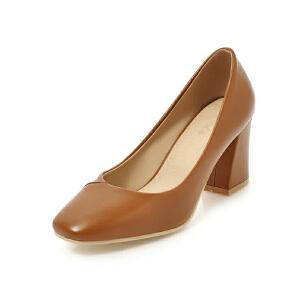 ELEISE美国艾蕾莎新品152-826韩版超纤皮高跟粗跟女士单鞋