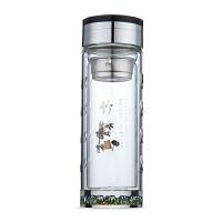 双层玻璃水杯防摔耐高温 钢化玻璃保温泡茶杯男女商务杯子 大容量凉水杯水晶杯便携花茶杯隔热杯 竹子