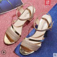 户外新品凉鞋女中跟女士韩版百搭仙女的鞋复古夏粗跟高跟女鞋