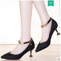 莱卡金顿新款尖头细跟高跟防水台水钻女士鞋韩版日常休闲妈妈鞋春夏季LHLKQ6388