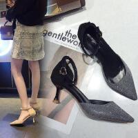 时尚女士性感细跟高跟鞋 韩版百搭一字扣带尖头凉鞋女 新款中空单鞋女