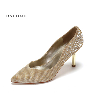 Daphne/达芙妮2017春时尚水钻纹理细跟单鞋 性感尖头酒杯跟高跟鞋