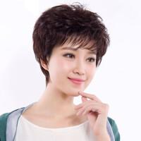 真发假发女短发发型妈妈短卷发自然假发套中老年假发头套真人发丝