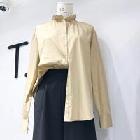 韩国ulzzang2018春装新款ts简约百搭木耳边衬衫女纯色长袖上衣潮