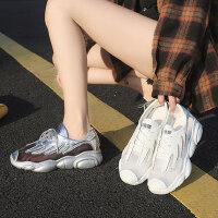 女士时尚透气网面休闲鞋子 韩版百搭增高小白鞋女 新款镂空老爹鞋女运动鞋女