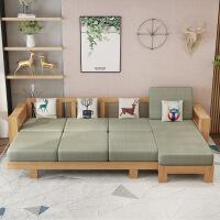 【品牌热卖】新中式沙发床布艺实木沙发组合大小户型客厅多功能沙发床家具 1+2+3+长几+方几 胡桃色