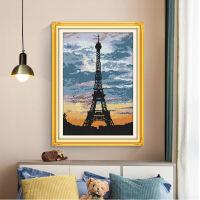 十字绣新款风景铁塔黄昏小幅巴黎风情小画坚款客厅装饰画 生态棉11ct 3股印布