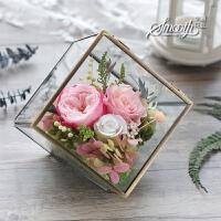 永生花康乃馨 玫瑰永生花康乃馨小立方玻璃罩礼盒