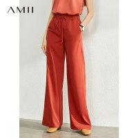 【到手价:112元】Amii极简时尚百搭阔腿裤女2020夏季新款高腰垂感显瘦直筒休闲裤子