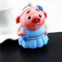 韩国可爱小猪钥匙扣女创意卡通铃铛书包挂件男生新猪年吉祥物礼品 乳白色 单个蓝猪妹