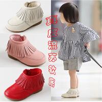 女宝靴子冬新款1-3岁6女宝宝棉鞋子公主冬季短靴女童棉靴流苏真皮