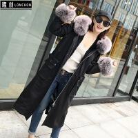 冬季新款派克服大衣女长款迷彩獭兔毛内胆狐狸毛领星星款皮草外套