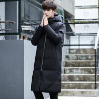 男羽绒服中长款加厚潮流韩版修身款男式连帽男装羽绒大衣男款外套 黑色