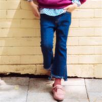 2018春秋季新款女童牛仔裤韩版喇叭裤中大童儿童长裤开叉牛仔长裤