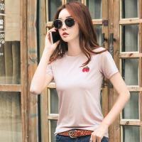 夏季新款韩版女装T恤打底衫纯色刺绣圆领百搭半袖体恤上衣