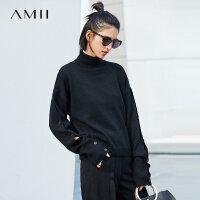 【到手价:176元】Amii极简时尚休闲100%巴素兰羊毛毛衣女2018秋冬宽松高领纯色上衣