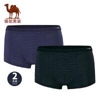 骆驼男装 新款简约纯色男士内裤舒适透气男平角裤2条装