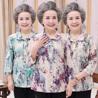 中老年人衬衣女中袖上衣奶奶开衫妈妈装夏季宽松大码七分袖衬衫