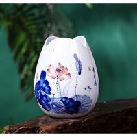 景德镇陶瓷器手绘青花瓷小花瓶水养富贵竹插花创意工艺品装饰摆件