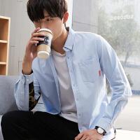 【2件2.5折】唐狮拼接长袖衬衫男秋季青少年保暖潮男衬衣个性文艺寸衫