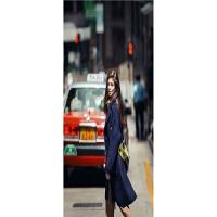 冬季新款 欧美风中长款呢大衣女式潮流显瘦时尚风衣外套 蓝色