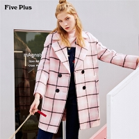 Five Plus女装格子羊毛呢外套女中长双排扣西装宽松长袖翻领