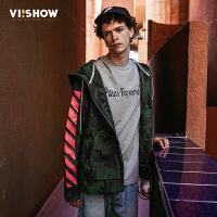 VIISHOW2017秋装新品连帽夹克男撞色块拉链开襟男士外套茄克衫
