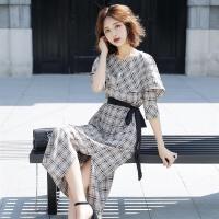 圆领格子复古连衣裙2018年夏季新款夏女裙短袖中长款时尚修身显瘦