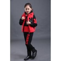 2017新款韩版秋冬童装加绒儿童加厚大童卫衣运动服男女童三件套装