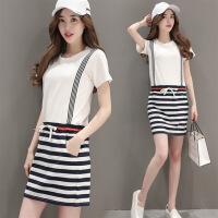 黑白条纹连衣裙女夏中长款新款纯棉休闲拼接针织学生收腰裙子 白色