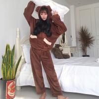 秋冬新款女装可爱卡通加绒保暖宽松显瘦学生长袖睡衣家居服套装女