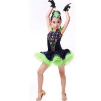 新款女童亮钻流苏拉丁舞裙 儿童拉丁舞表演服少儿拉丁比赛服装 图片色